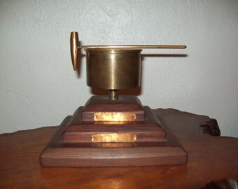 """Soup's On ~ WWII """"Marshall Isle"""" Trench Art Bell with Bullet Casing Ringer and tri level Wood Base"""