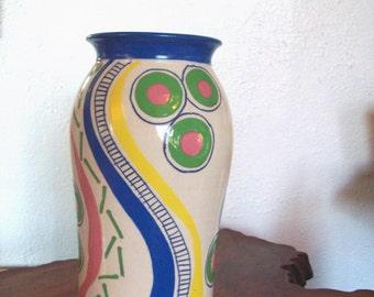 Whimsical Colorful Porcelain Vase by Elisa Kietzer