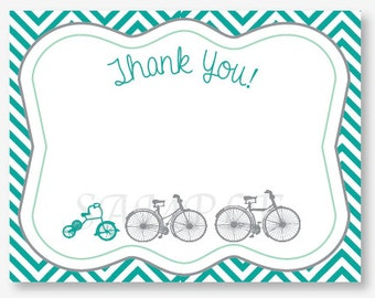 Baby Makes Three Bicycle, Flat Thank you Cards, Set of 10 Personalized Flat Cards with envelopes, Professionally Printed