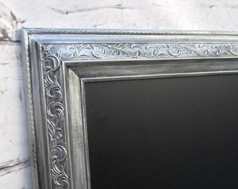 "XL MAGNETIC CHALKBOARD Silver Framed Huge 54""x30"" AnY CoLOR Large Framed Black board Wedding French Country Kitchen Chalkboard"