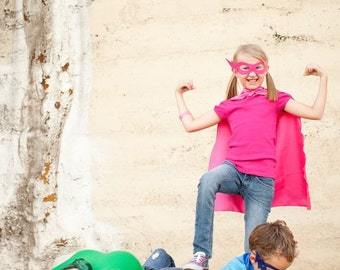 Fast Delivery - BASIC CAPE SET - affordable set includes - Single sided Super Hero Cape - Any color plus hero mask - Easy Costume