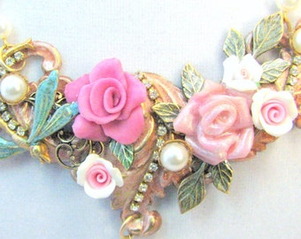 Price Drop! Pink Roses Statement Necklace - Shabby Roses Statement Necklace - Pink Spring Collage Necklace - Sofia Rose