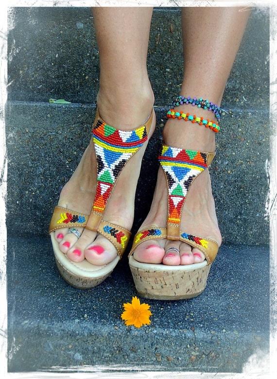 tribal wedge sandals american beaded sandals