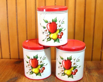 Three Vintage Fruit Design Canisters