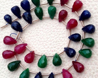 New Arrival, Dyed Natural EMERALD,SAPPHIRE,RUBY Faceted Drops Shape Briolettes,8-9mm Long, Finest Item