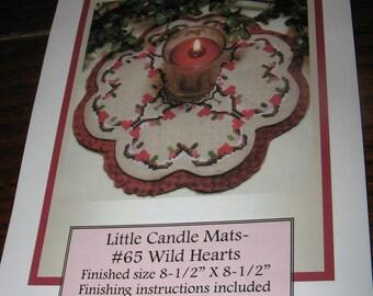 Prairie Grove Peddler WILD HEARTS Little Candle Mats Cross Stitch Pattern