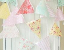Shabby Chic Fabric Banner, Bunting, Pennant Flags, Pink, Blue, Aqua, Yellow, Wedding Decor, Photo Prop, Baby Nursery Decor, Birthday Party
