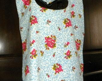 Adult Bib Reversible  Flannel Floral Bouquets