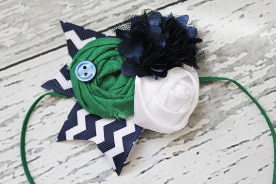 Preppy and  Nautical- kelly green and navy bloom, rosette and satin flower headband or pin