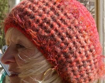 Bohemian Accessories Red Crochet Winter Hat Original Unique Woman Clothing