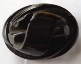 Victorian Whitby Jet Mourning Buckle Brooch