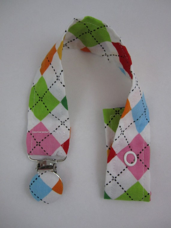 SALE - Argyle Pacifier Clip - Remix Summer