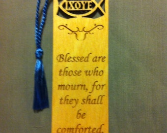 Wood Scripture Bookmark - Beatitudes Matthew 5:4 - Blessed are those who mourn