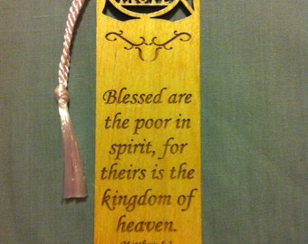 Wood Scripture Bookmark - Beatitudes Matthew 5:3 - Blessed are the poor in spirit