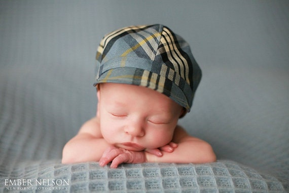 Toddler boys hat baby boy blue hat cap for boys plaid hat with brim - Chasin' the Blues Cap