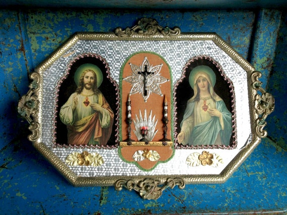 Religious Folk Art Foil Shrine Vintage By Vintagejunkinmytrunk