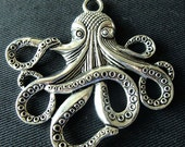 Destash (1) Large Octopus Charms Pendant - for jewelry making, crafts, scrapbooking