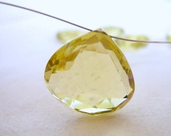 AAA Lemon Quartz Faceted Heart Briolette Large Semiprecious Gem 18mm 20mm Focal Bead Jewelry Supply
