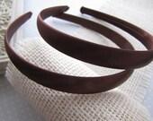 Dark Chocolate . satin headbands . set of 2 . girls hair accessory