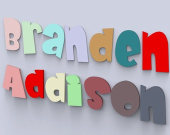 """4"""" Children's Wood Names Nursery Wall Decor letters Custom Made and Painted."""