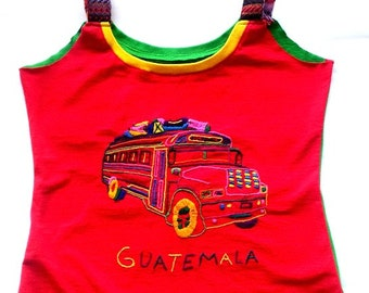 OOK Embroidered graphic Guatemala Bus tank
