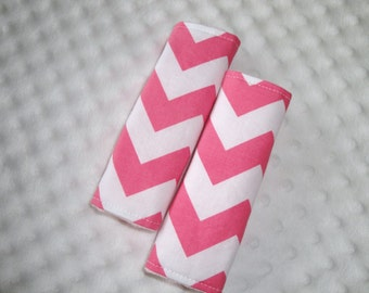Reversible Car Seat Strap Covers In Chevron with Minky You Choose Colors