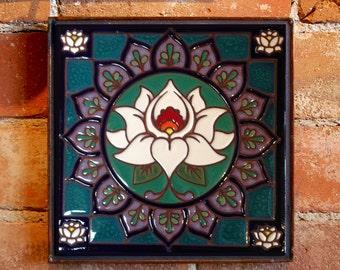 Lotus Mandala Hand Gazed Tile Mural Plaque