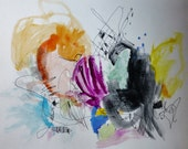 Snow Bunny - Mixed Media Drawing- Fresh Abstraction- 11x15