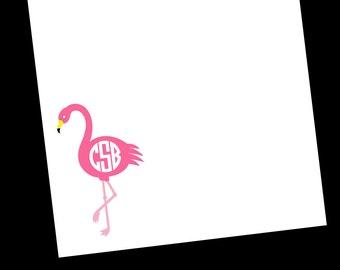 Personalized Flamingo Monogram Notepads - 3 Sizes