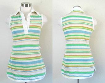 Vintage Striped Polo T Shirt 1970s Jantzen Sleeveless Summer Top