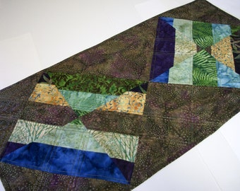 Batik Table Topper Brown Green Purple Modern Quiltsy Handmade Quilted FREE U.S. Shipping