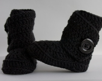 Black Baby Crochet  Side Wrap Boots- Choose Your Size