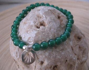 Hamsa Bracelet, Green Hamsa Bracelet, Jade Bracelet with Silver Hamsa Charm, Green Beaded Bracelet, Hamsa Pendant, Sterling Silver Charm