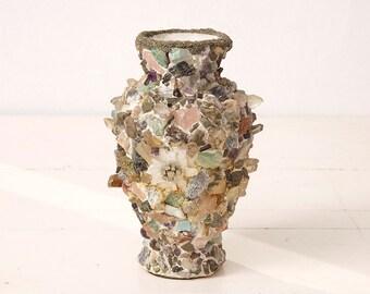 Vintage Vase Made With Semi Precious stones And Unique Rocks