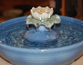 "Ceramic Cat Fountain, Handmade, Foodsafe -  ""Water Lily"" - 12 Inch Diameter"