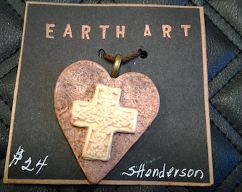 Pottery Cross Embellished Heart Pendant wth Indian Inspired Finish