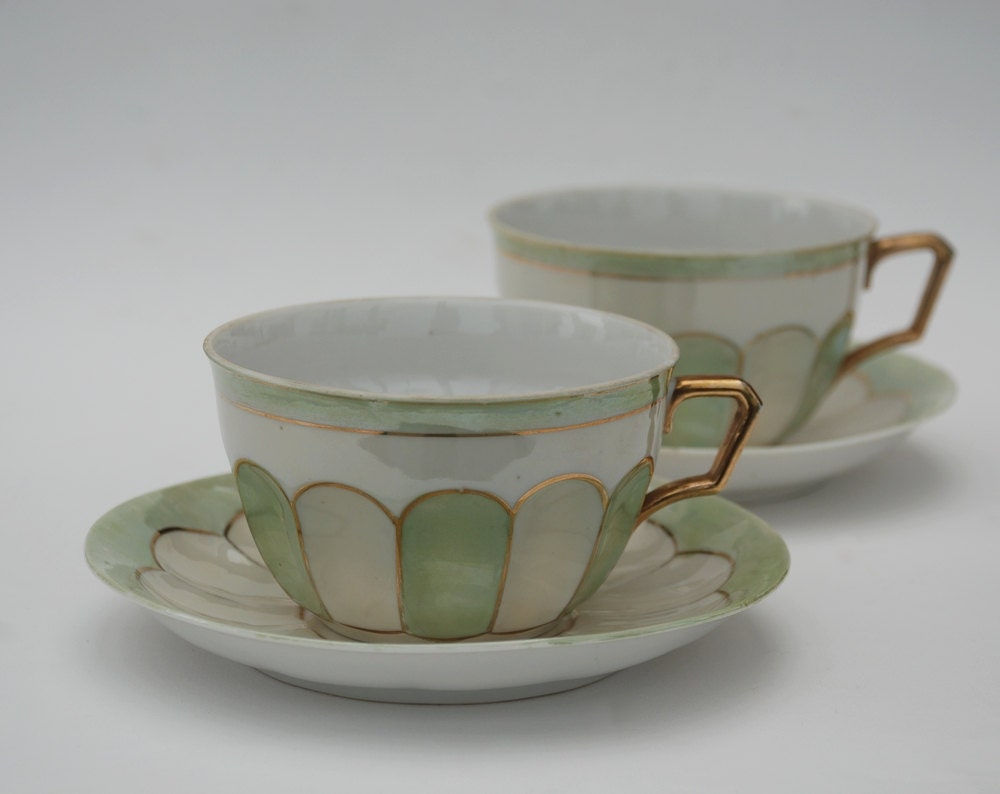 Porcelain Coffee Cups Large Cup And Saucer Pastel Green