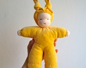 Organic Waldorf doll 10.5 inch, yellow, light skin, blue eyes, bunting, soft, cuddly, cosy, wool, shower gift, baby, newborn