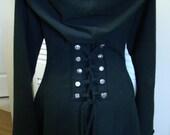 Corset lace black bamboo hoodie fairy pixie burning man