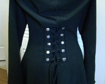 Plus Size Corset lace black bamboo hoodie fairy pixie burning man