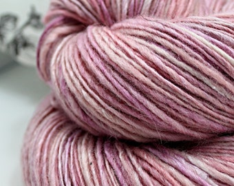 Handspun Yarn Gently Thick and Thin DK Single Blue Faced Leicester and Tussah Silk Blue Moon Fiber Arts 'PDX Rose City'
