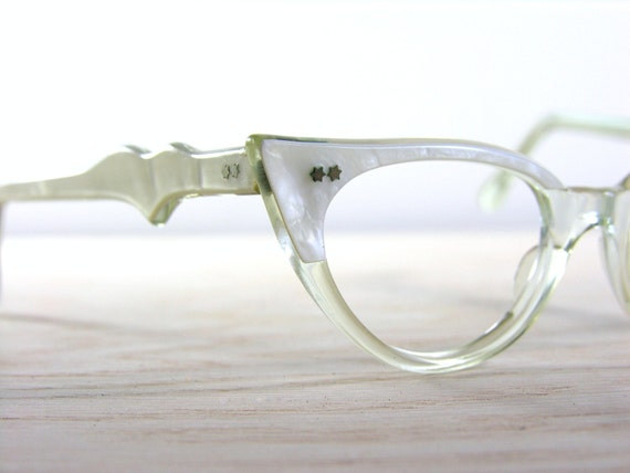 Vintage Cat Eye Glasses 1950s Bombshell Pearl White Frames France TWEC