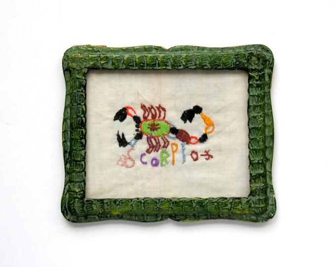 Scorpio Scorpion Embroidery Green Snakeskin Frame Vintage Zodiac