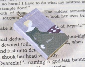 Miniature Classic Novels Book Necklace Charm Vintage Emma