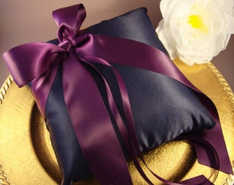 Wedding Ring Bearer Pillow - Pick Your Own Color - Shown in Navy and Eggplant