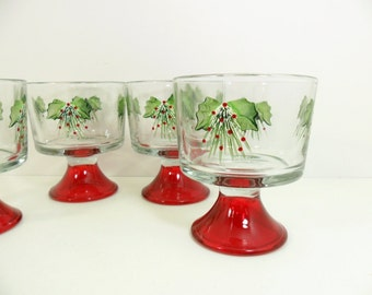 Trifle Dessert Bowls Hand Painted Holly Set of 4