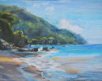Ocean Painting, Beach, Hawaii, Seascape, Oceanscape, Landscape painting, Tropical, Romantic, Nautical, Sand, Original oil by Carol DeMumbrum