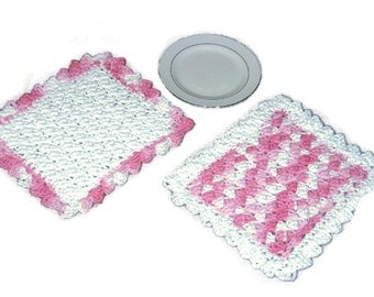 White and Pink Dishcloths, Washcloths - Hand Crocheted Cotton - Decorative Pair - Gift Set