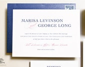INVITATION SAMPLE Navy Blue and Pink Wedding Invitations - Flat Printed - Harmony Design - Invitation Sample Set by Sincerely, Jackie