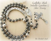 Personalized Godfather Gemstone Rosary - Gift for Baptism - Crucifix of your Choice